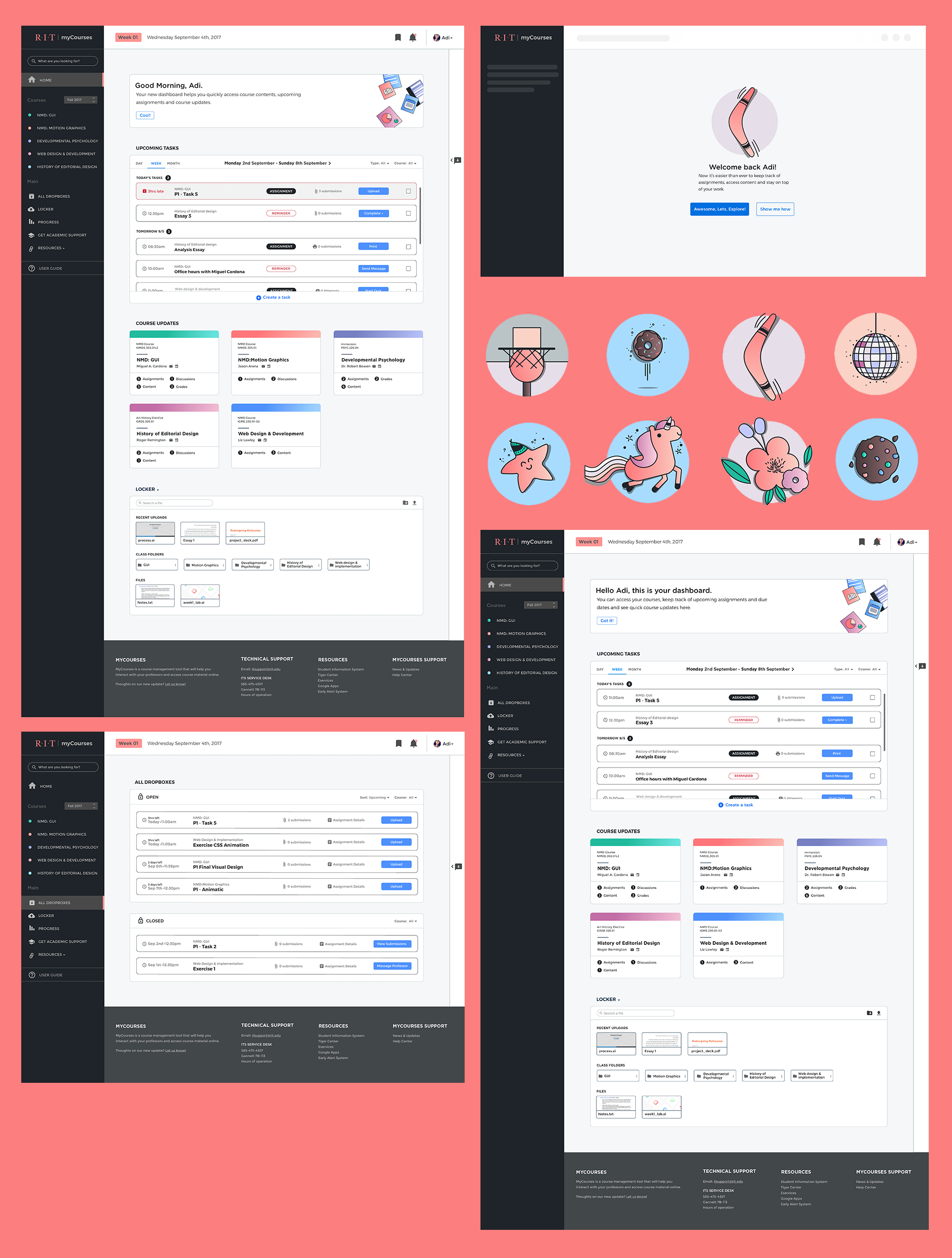 Grid of final design screens for myCourses