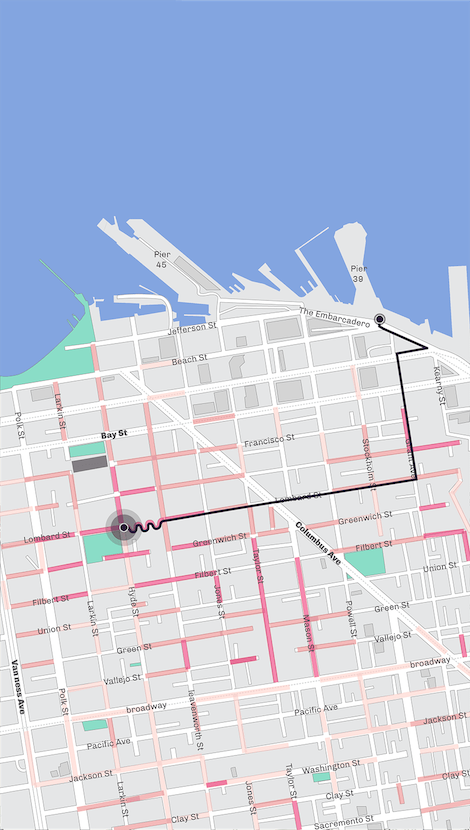 Map of part of San Fracisco shown in the app